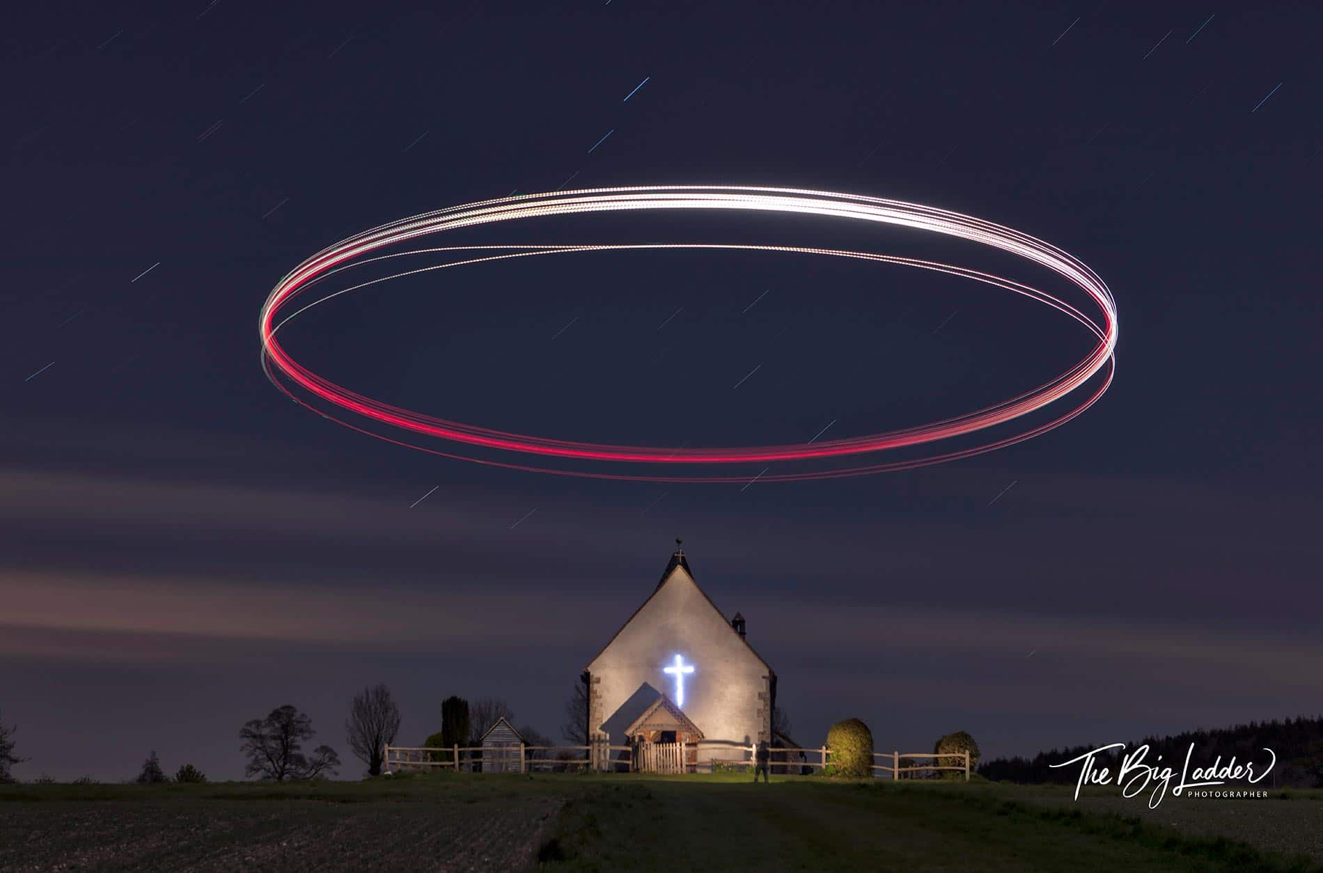 A drone creates a Halo over St Huberts in Idsworth.