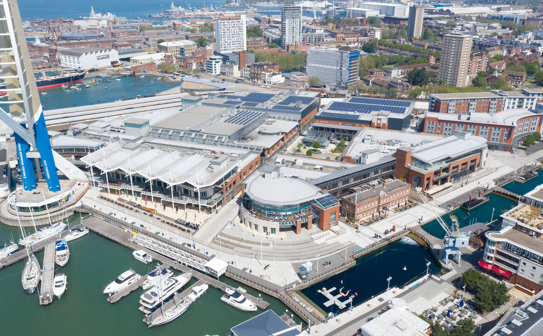 Gunwharf Quays in Portsmouth in total lockdown