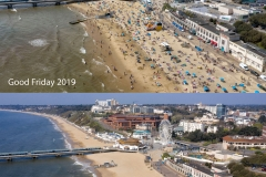 Bournemouth Beach lockdown a year apart.