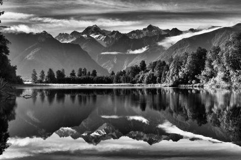 The Southern Alps reflect in Lake Matheson